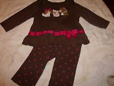 GYMBOREE Size 6 12 18 MONTHS OUTFIT PANTS SHIRT TOP PARISIAN CHIC DOGS PUPPIES