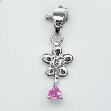 0.35ct Natural Unheated Pink Sapphire Pendant With Topaz in 925 Silver