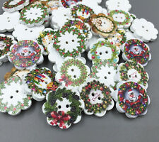 50pcs Christmas wreath Shape Wooden Sewing Buttons decoration Scrapbooking 20mm