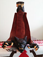 Vintage 90's Paper Magic Group latex foam filled hanging bat, faux fur. Hallowee