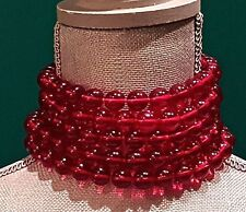 ~RARE Collectors Auth CHANEL GRIPOIX Choker Coller Ruby Red Beed NECKLACE Signed