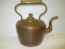 Antique Heavy Copper & Brass Dovetailed Large Tea Pot Kettle Gooseneck Spout