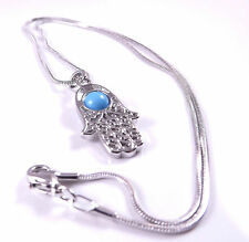Hamsa Judaica Necklace Pendant Kabbalah Evil Eye Stone Hand Of Fatima Jewelry