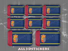 8 x Pegatinas 3D Relieve Bandera Mostoles - Todas las Banderas del MUNDO