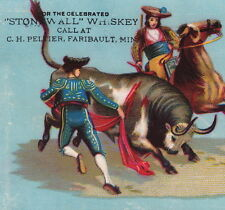 Stonewall Whiskey Rebstock Peltier Faribault MN Bullfight Advertising Card poem