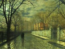JOHN ATKINSON GRIMSHAW PAINTINGS FIGURES MOONLIT LANE RAIN ART POSTER 1610OMLV