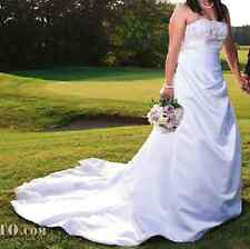 David's Bridal A-line Side Drape Strapless Gown Style V9665