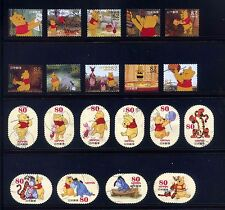 Japan 2012 and 2014 Disney Winnie the Poon Complete Used Stamps 2 Set
