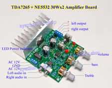 New 30W*2 Dual Channel TDA7265 + NE5532 HIFI Audio Amplifier Board Treble / Bass
