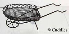 Fairy Garden Wheel Barrow Wire Metal Hand Push Cart Wagon  Fantasy Mini Tiny New