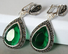 """jewelry Faceted Emerald & Marcasite 925 STERLING SILVER EARRINGS 1 1/2"""" JEWELRY"""
