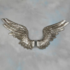 Large Pair of Decorative Antiqued Silver Angel Wings Wall Hangings - 58 cm Wide