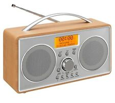 L55DAB15 PORTABLE DAB DAB+ FM RADIO LCD DISPLAY WOOD SILVER MAINS OR BATTERY