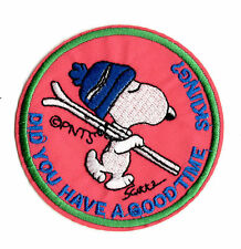 SNOOPY GOOD TIME SKIING IRON ON / SEW ON PATCH Embroidered Badge PT31