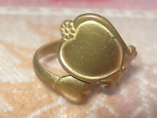 GOLD HEART VINTAGE ANTIQUE  ADJUSTABLE BRASS SPOON RING SIZES 3-8