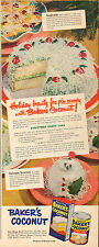 1951 vintage AD BAKER'S COCONUT Christmas Snow Cake Recipe  092416