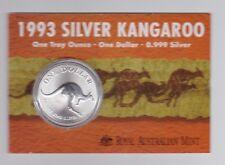 1993 1oz .999 Silver Coin $1 Kangaroo UNC Australia one ounce *-