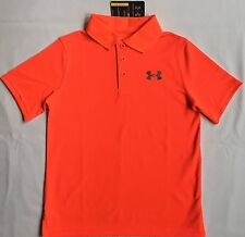 NWT youth Boys' YMD medium UNDER ARMOUR knit POLO heatgear GOLF shirt ORANGE UA