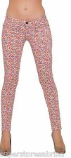 SALE SALE!! Multi Floral Printed Jeans Zip Up Button Closer SIZE 9(Europe 34)