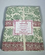 """NEW April Cornell Naturally Beautiful Christmas Floral Tablecloth SZ 60x104"""""""