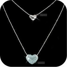 pendant necklace 18k white gold genuine SWAROVSKI crystal double hearts