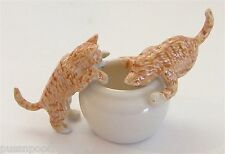 Miniature Ceramic Ginger Cats or Kittens on Bowl (Set/3)