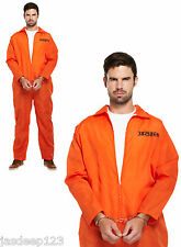 Mens Prisoner Orange Boiler Suit Fancy Dress Costume with Handcuffs Convict Over