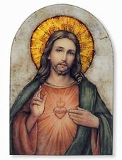 Sacred Heart of Jesus Icon 7 Inch Wood Arched Icon Plaque NEW SKU VC688