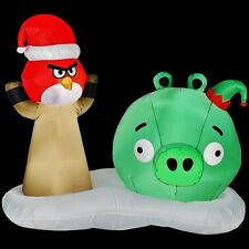5 ft Air blown Inflatable holiday christmas angry birds red green pig outdoor