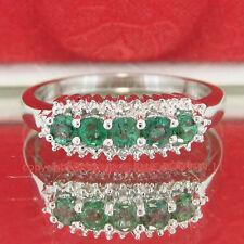 Genuine Diamond Emerald Solid Silver 5 Stone Anniversary Ring White Gold Finish