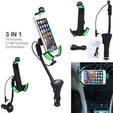 VODOOL Car Phone Mount Holder with 3.1 Amp USB Car Charger and FM transmitter