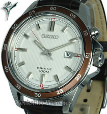 New Seiko Kinetic Satin White Dial Sports Con Cuero Hebilla Correa ska645p1