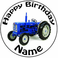 "Personalised Vintage Blue Tractor Icing Cake Topper Round Easy Pre-cut 8"" (20cm)"