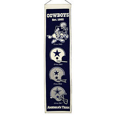 "Dallas Cowboys 32"" Embroidered Genuine Wool Heritage Banner NWT NFL"