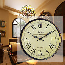 Retro Vintage Style Shabby Home Kitchen Decoration Round Wall Clock Wooden 34cm