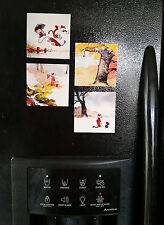 "Calvin and Hobbes 4 Piece Set Refrigerator Magnets 3.5"" x 3.5"""