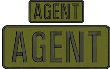 AGENT embroidery patches  4x10 and 2x5 hook on back all black