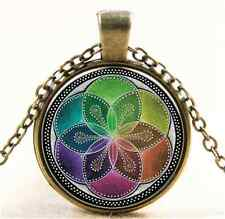 Vintage Flower of Life pattern Cabochon Bronze Glass Chain Pendant Necklace