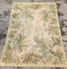 Old Handmade French Design Original Wool Aubusson Rug  Tapestry 178 X 122 Cm
