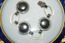 VINTAGE YSL 198O'S LUCITE LINKS & GREY FAUX PEARLS ON SILVER TONE METAL BRACELET