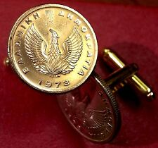 Vintage 1973 Greek Phoenix Mythical Firebird Greece Golden Brass Coin Cufflinks!