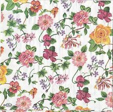 English Flower Paper Napkins Rosery Pink & Yellow Roses Ideal Home Range IHR