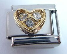 GOLD HEART CLEAR GEMS Italian Charm fits 9mm Classic Bracelets I Love You April