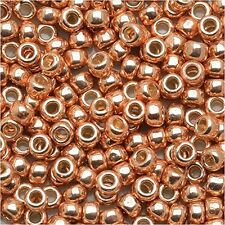 8/0 Galvanized PF Rose Gold TOHO Round Glass Seed Beads 10 grams  #PF551