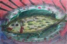 KLAUS IHLENFELD-German Surrealist-Original Signed WC-Expressionist Fish-1988