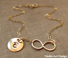 Infinity Charm Necklace. Personalized Gold Necklace. Letter Initial Disc Pendant