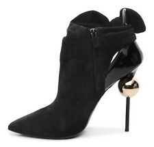 Roger Vivier Suede & Boxed Leather Bow Bootie Luxury Size 7.5 / 37,5  MSRP $2050