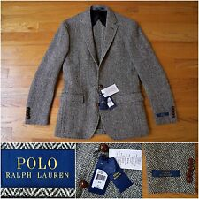 BNWT $895 Polo Ralph Lauren Slim-Fit Tweed Herringbone Jacket in Gray, 36R / 38R