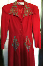 Vintage 1930s 40s Beaded Turquoise Gold Red Wool Full Length Coat