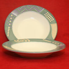 2 Mikasa Intaglio Life Style CAC 18 Rimmed Soup Salad Bowls Geometric